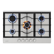 Ignito 5 Zones Gas Hob 5 Flames Sabaf Burner Stainless Steel Silver Silver | 5 burners