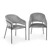 Salma Dining Chair Pair Metal Frames Golden Chrome Grey Grey