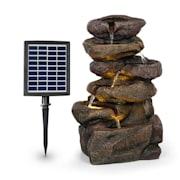 Savona, solárna fontána, 2,8 W, polyresin, 5 hod., akumulátor, LED osvetlenie, vzhľad kameňa