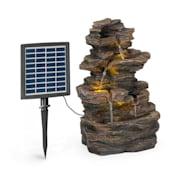 Messina Kaskadenbrunnen Solarbrunnen Gartenbrunnen 4 Stufen Akkubetrieb 2,8W Solarpanel LED