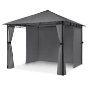 Mondo Garden Pavilion Party Tent Gazebo Steel Polyester Dark Grey Dark grey