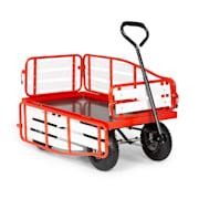 Ventura Handwagen Bollerwagen Schwerlast 300 kg wetterfest Stahl WPC rot  Rot