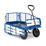 Ventura Handwagen Bollerwagen Schwerlast 300 kg wetterfest Stahl WPC blau  Blau