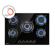 Goldflame 5, plinska kuhalna plošča, 5 medeninastih gorilnikov, steklokeramika, črna 5