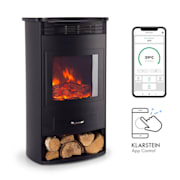 Bormio Smart, Electric Fireplace, 950 / 1900W, Thermostat, Weekly Timer, Black Black