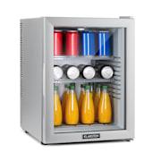 Brooklyn 42 White, mini chladnička, energetická třída A, skleněné dveře, LED, police, stříbrná Stříbrná | 42 Ltr