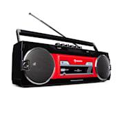 Duke DAB, mangiacassette, radio, DAB+/FM, BT, USB, SD, antenna telescopica nero / rosso