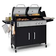 Kingsville combi-barbecue gas + houtskool 8,1kW 2+1 brander hoogte verstelbaar