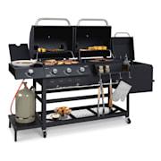 Kingsville Smoke combi-barbecue gas houtskool Smoker 13,5kW 3+1 brander