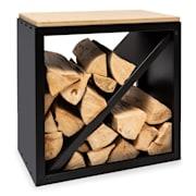 Kindlewood S Black, стойка за дърво, пейка, 57 × 56 × 36 см, бамбук, цинк Черно