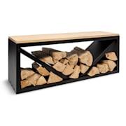 Kindlewood L Black, стойка за дърво, пейка, 104 × 40 × 35 см, бамбук, цинк Черно