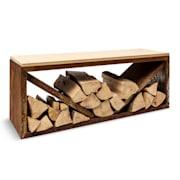Kindlewood L Rust, стойка за дърво, пейка, 104 × 40 × 35 см, бамбук, цинк Ръжда