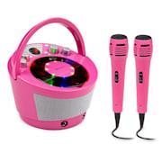 SingSing BT, karaoke systém, 2 x mikrofon, CD přehrávač, BT, LED světelný efekt, přenosný Růžová