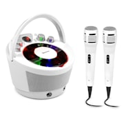 SingSing BT, karaoke systém, 2 x mikrofon, CD přehrávač, BT, LED světelný efekt, přenosný Bílá