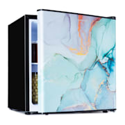 Mini nevera CoolArt 45 litros, clase de eficiencia energética F, compartimiento de congelador 1,5l, puerta de diseño Pastel