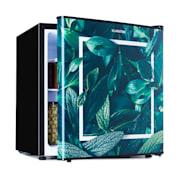 Mini nevera CoolArt 45L, clase de eficiencia energética F, congelador 1,5l, puerta de diseño Forest