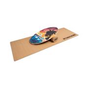 Indoorboard Allrounder, Balance Board + Tappetino + Rullo, Legno/Sughero rosso