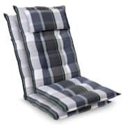 Sylt, üléspárna, üléspárna székre, magas háttámla, párna, poliészter, 50 x 120 x 9 cm Kék / Fehér | 2 x ülőpárna