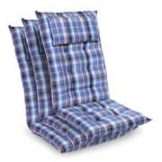 Sylt, polstr, čalounění na křeslo, vysoké opěradlo, polštář, polyester, 50 x 120 x 9 cm Modrá / Bílá | 3 x sedák