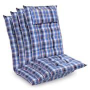 Sylt, подложка, подложка за кресло, висока облегалка, възглавница, полиестер. 50х120х9см Син / Бял | 4 x седалката