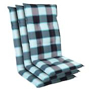 Prato, čalounění, čalounění na křeslo, vysoké opěradlo, zahradní židle, polyester, 50 x 120 x 7 cm Světle Modrá | 3 x sedák