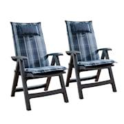 Donau, pehmuste, puutarhatuoliin korkealla selkänojalla, polyesteriä, 50 x 120 x 6 cm Sininen | 2 x istuintyyny