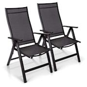 London Cadeira de Jardim 2 Unidades Têxtil Alumínio 6 Posições Dobráveis Antracite | 2 x Cadeira