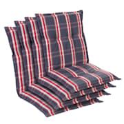 Prato, oblazinjenje, oblazinjenje naslanjača, nizek hrbtni naslon, poliester, 50x100x8cm Siva / Rdeča | 4 x sedišča