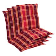 Prato Polsterauflage Sesselauflage Niedriglehner Gartenstuhl Polyester 50x100x8cm Rot | 4 x Sitzauflage