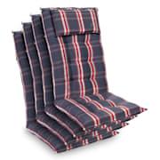 Sylt coussin de fauteuil appuie-tête pour dossier haut Polyester 50x120x9cm Gris / Rouge | 4 x coussin de siege