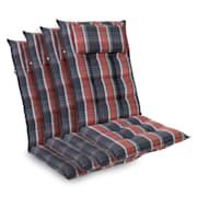Sylt coussin de fauteuil appuie-tête pour dossier haut Polyester 50x120x9cm Noir / Rouge | 4 x coussin de siege