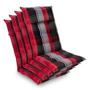 Sylt coussin de fauteuil appuie-tête pour dossier haut Polyester 50x120x9cm Rouge / Noir | 4 x coussin de siege