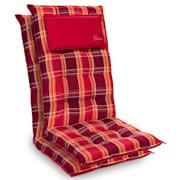 Sylt Dyna fåtöljdyna högryggad huvudkudde polyester 50x120x9cm Rödrutig | 2 x sittdyna
