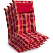 Sylt Dyna fåtöljdyna högryggad huvudkudde polyester 50x120x9cm Rödrutig | 4 x sittdyna