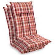 Sylt, polstr, čalounění na křeslo, vysoké opěradlo, polštář, polyester, 50 x 120 x 9 cm červená bílá | 3 x sedák
