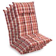 Sylt, blazina, blazina za stol, blazina za naslonjač z visokim naslonom, vzglavnik, poliester, 50x120x9 cm rdeča / Bela | 4 x sedišča