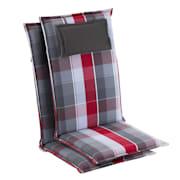 Donau, blazina, blazina za sedež, blazina za višji naslonjač, vrtni stol, poliester, 50 × 120 × 6 cm  Rdeča | 2 x sedišča