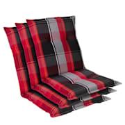 Prato, oblazinjenje, oblazinjenje naslanjača, nizek hrbtni naslon, poliester, 50x100x8cm Rdeča / Črna | 3 x sedišča