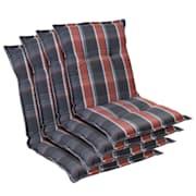 Prato, Imbottitura, Schienale Basso, Sedia da Giardino, Poliestere, 50x100x8cm Nero / Rosso | 4 x cuscino di seduta