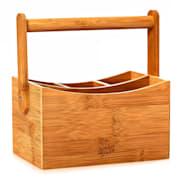 Schreibtischorganizer mit Tragegriff 4 Fächer 22,5 x 12 x 17 cm 100  % Bambus