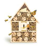 Domek dla owadów, dach spiczasty, zawieszenie, nadaje się do całorocznego zamieszkania, drewno siodło dach