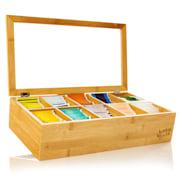 Škatla za čaj, 10 predelkov, 150 čajnih vrečk, prozorno plastično okno, bambus 10 predelki