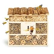 Domek dla owadów, dach płaski, zawieszenie, nadaje się do całorocznego zamieszkania, drewno płaski dach