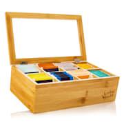 Škatla za čaj, 8 predelkov, 120 čajnih vrečk, prozorno plastično okno, bambus 8 predelki