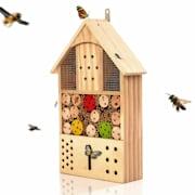 Domek dla owadów, z kolorowymi elementami, nadaje się do całorocznego zamieszkania, drewno piniowe