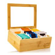 Škatla za čaj, 6 predelkov, 90 čajnih vrečk, prozorno plastično okno, bambus 6 predelki