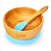 Kindergeschirr mit Bambusschale und Löffel 400 ml inkl. Saugnapf Ø: 13,7 cm Hellblau