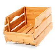 Skrzynia bambusowa, dobra cyrkulacja powietrza, możliwość postawienia jedna na drugiej, 27 x 20,5 x 38 cm