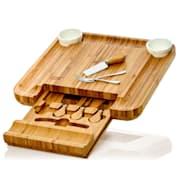 XXL deska na sýr se zásuvkou na příbory, 34 × 4,5 × 34 cm (Š × V × H), příbor na sýr, jednoduchá údržba