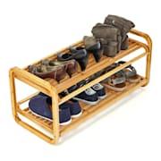 Regał na buty, regał wielofunkcyjny, 2 poziomy, 6 par butów, rozszerzalny, trwały, bambus
